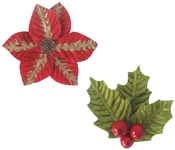 """Poinsettia 3.7""""X3.7"""", 2.7""""X2.7"""" - Ultimate Crafts Look Like Christmas Flowers 2/Pkg"""