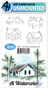 """Mini Cottages - Art Impressions Watercolor Cling Rubber Stamps 4""""X7"""""""