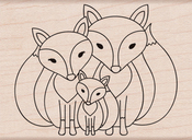 """Fox Family - Hero Arts Mounted Rubber Stamp 3.25""""X2.38"""""""