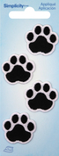 Black Cat Paws - Wrights Iron-On Appliques 4/Pkg