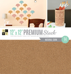 "Natural Cork - DCWV Single-Sided Specialty Stack 12""X12"" 14/Pkg"