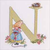 "N - Seraphina Counted Cross Stitch Kit 6.25""X5.5"""