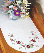 "Small Floral - Stamped Perle Edge Dresser Scarf 15""X42"""