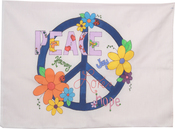 "Peace Sign - Stamped Perle Edge Pillowcase 30""X20"""