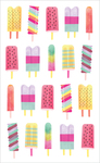 "Watercolor Popsicles Strips - Mrs. Grossman's Watercolor Stickers 4""X6.5"""