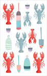 "Watercolor Lobsters Strips - Mrs. Grossman's Watercolor Stickers 4""X6.5"""