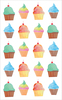 """Watercolor Cupcakes Strips  - Mrs. Grossman's Watercolor Stickers 4""""X6.5"""""""