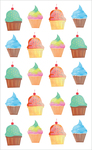 "Watercolor Cupcakes Strips  - Mrs. Grossman's Watercolor Stickers 4""X6.5"""