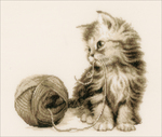 """Kitten On Aida (14 Count) - Vervaco Counted Cross Stitch Kit 11.5""""X10.5"""""""