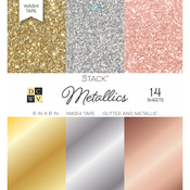 "Washi Metallics Glitter & Foil - DCWV Single-Sided Cardstock Stack 6""X6"" 14/Pkg"