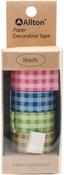 Pink, Blue, Green & Olive Checker - Decorative Washi Tape 15mmX5m 4/Pkg