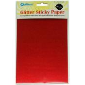 "Red - Ultra Fine Glitter Sticky Paper 6""X9"" 5/Pkg"
