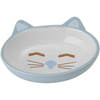 Blue - PetRageous Sleepy Kitty Oval Saucer 5.3oz Hand-crafted and oven-fired stoneware saucers for cats. Dishwasher and microwave safe. This package contains one oval saucer that holds 5.3oz. Imported.