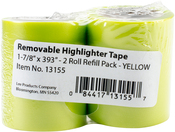 "Yellow - Lee Products Removable Highlighter Tape 1-7/8""X393"" 2/Pkg"