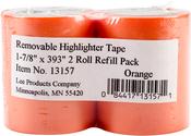 "Orange - Lee Products Removable Highlighter Tape 1-7/8""X393"" 2/Pkg"