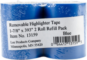 "Blue - Lee Products Removable Highlighter Tape 1-7/8""X393"" 2/Pkg"