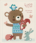 """Cute Animal Friends On Aida (14 Count) - Vervaco Counted Cross Stitch Kit 9.25""""X11.25"""""""
