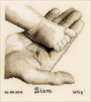 """Baby Foot On Hand On Aida (18 Count) - Vervaco Counted Cross Stitch Kit 5.5""""X6.5"""""""