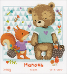 "Bear And Squirrel On Aida (14 Count) - Vervaco Counted Cross Stitch Kit 10.75""X11.25"""