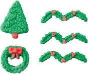 Tree & Wreath - Royal Icing Decorations 5/Pkg