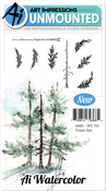 """Fir Trees - Art Impressions Watercolor Cling Rubber Stamps 4""""X7"""""""