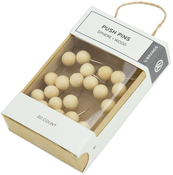 Oak, 20/Pkg - Push Pins Sphere