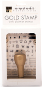 Gold W/90 Mini Icons, Numbers & Words - DCWV Moment Maker Planner System Hand Stamp