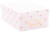 "Pink Foil Flamingos - DCWV Photo Box W/Bookplate 11""X7.375""X4.375"""