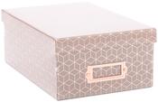 "Gray Geo W/Rose Gold Foil - DCWV Photo Box W/Bookplate 11""X7.375""X4.375"""