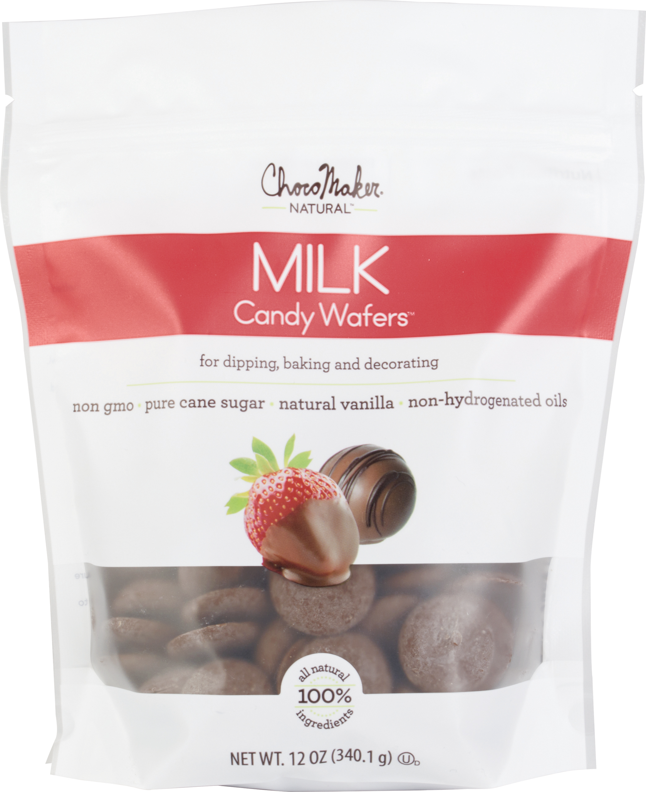 Milk - ChocoMaker(R) Natural Chocolate Candy Wafers 12oz Pouch
