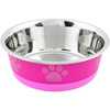 Fuchsia With Pink Print - Non-Skid Bonded Stainless Steel Bowl 1pt A signature line of decorative, durable pet bowls are made of a combination of veterinarian recommended stainless steel interiors and poly-shine fashion print exteriors. Each bowl has a non-skid rubber base to prevent spills, movement and noise. This package contains one 1pt bowl. Dishwasher safe. Imported.