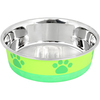 Lime With Green Print - Non-Skid Bonded Stainless Steel Bowl 1pt A signature line of decorative, durable pet bowls are made of a combination of veterinarian recommended stainless steel interiors and poly-shine fashion print exteriors. Each bowl has a non-skid rubber base to prevent spills, movement and noise. This package contains one 1pt bowl. Dishwasher safe. Imported.