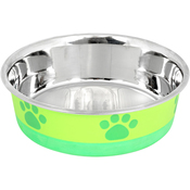 Lime With Green Print - Non-Skid Bonded Stainless Steel Bowl 1pt