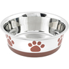 White With Brown Print - Non-Skid Bonded Stainless Steel Bowl 1qt A signature line of decorative, durable pet bowls are made of a combination of veterinarian recommended stainless steel interiors and poly-shine fashion print exteriors. Each bowl has a non-skid rubber base to prevent spills, movement and noise. This package contains one 1qt bowl. Dishwasher safe. Imported.
