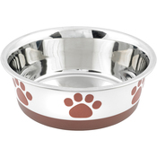 White With Brown Print - Non-Skid Bonded Stainless Steel Bowl 1qt