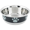 Black With Grey Print - Non-Skid Bonded Stainless Steel Bowl 1qt A signature line of decorative, durable pet bowls are made of a combination of veterinarian recommended stainless steel interiors and poly-shine fashion print exteriors. Each bowl has a non-skid rubber base to prevent spills, movement and noise. This package contains one 1qt bowl. Dishwasher safe. Imported.
