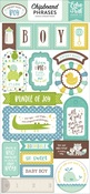 Sweet Baby Boy Phrases Chipboard Pieces - Echo Park - PRE ORDER