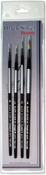Round 0, 1, 2 & 4 - Black Silver Short Handle Brush Set 4/Pkg