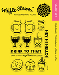 """Drink To That - Waffle Flower Crafts Clear Stamps 4""""X6"""""""
