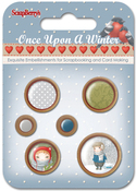 Assorted - ScrapBerry's Once Upon A Winter Wooden Frame Buttons 6/Pkg