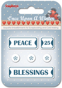 #1: Peace, 25, Blessings & Snowflakes - ScrapBerry's Once Upon A Winter Metal Words & Icons