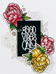 Good Vibes-Peony - Spellbinders Stamp & Die Set By Stephanie Low