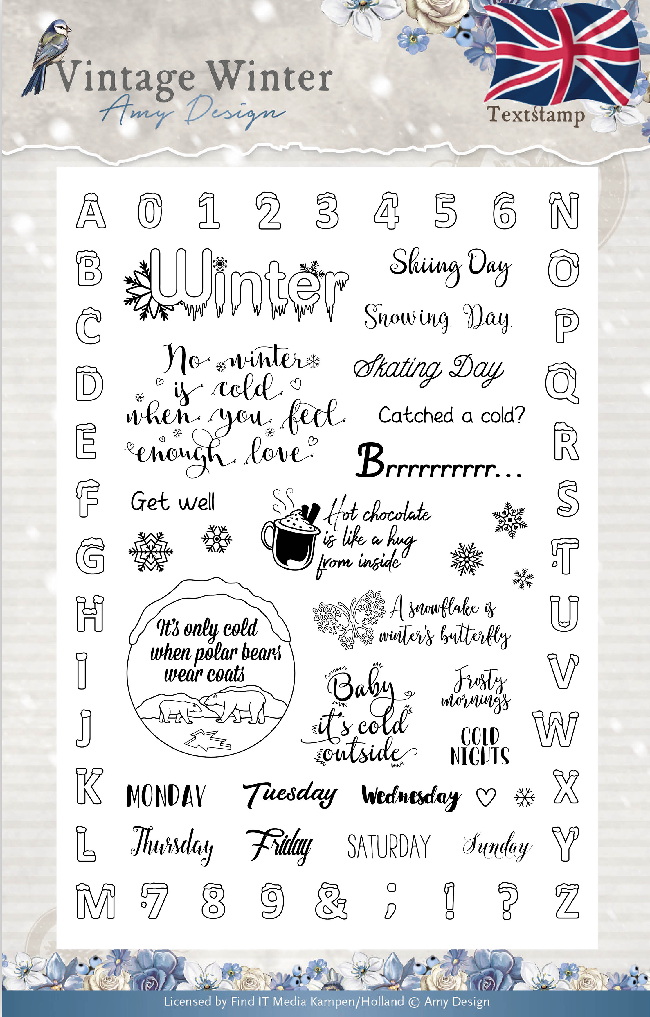English Words & Phrases - Find It Amy Design Vintage Winter Clear Stamps