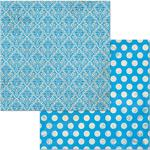 Brilliant Blue Double Dot Damask Paper - Bo Bunny