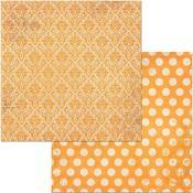 Orange Citrus Double Dot Damask Paper - Bo Bunny