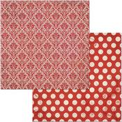 Wildberry Double Dot Damask Paper - Bo Bunny