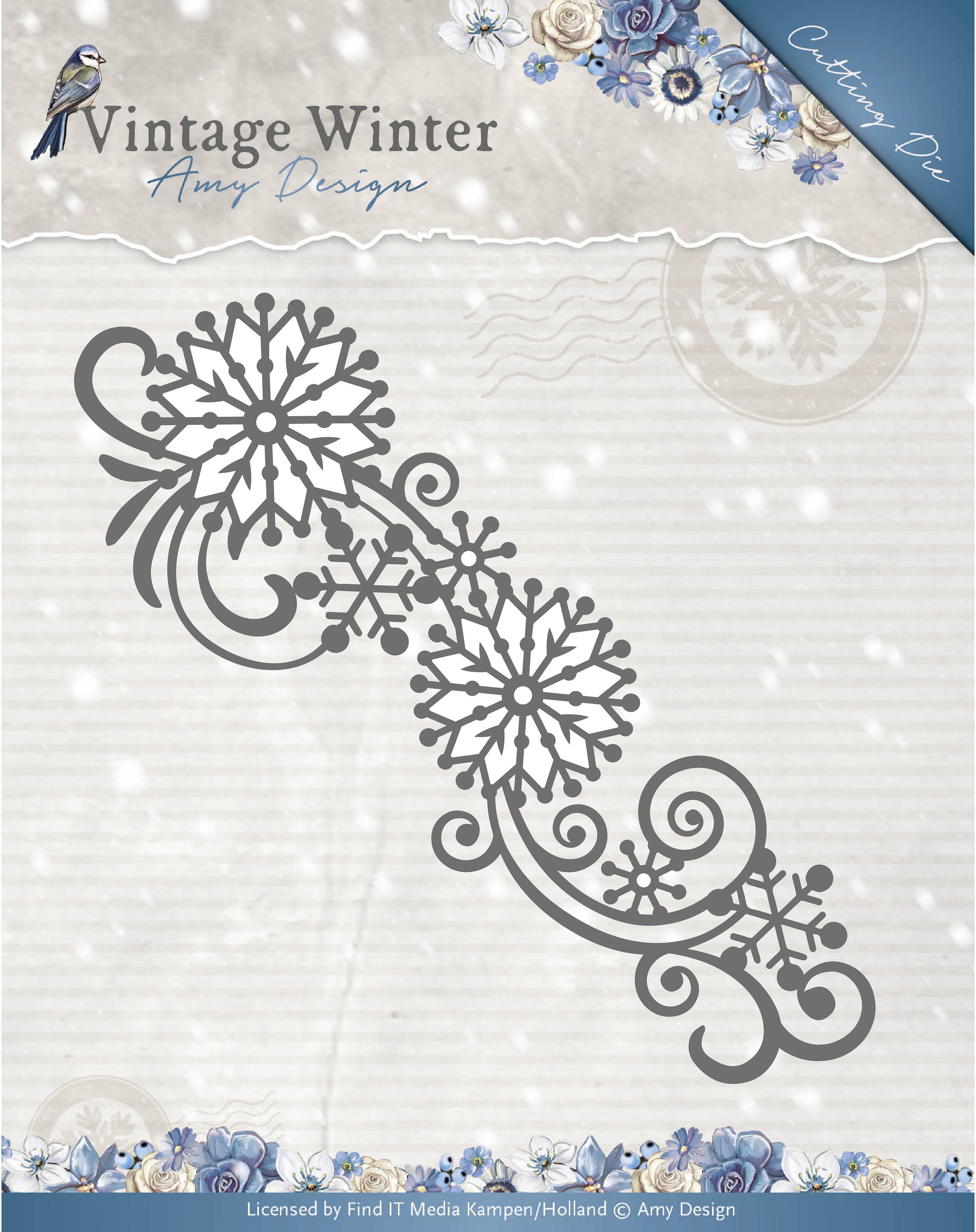 Snowflake Swirl Border - Find It Trading Amy Design Vintage Winter Die