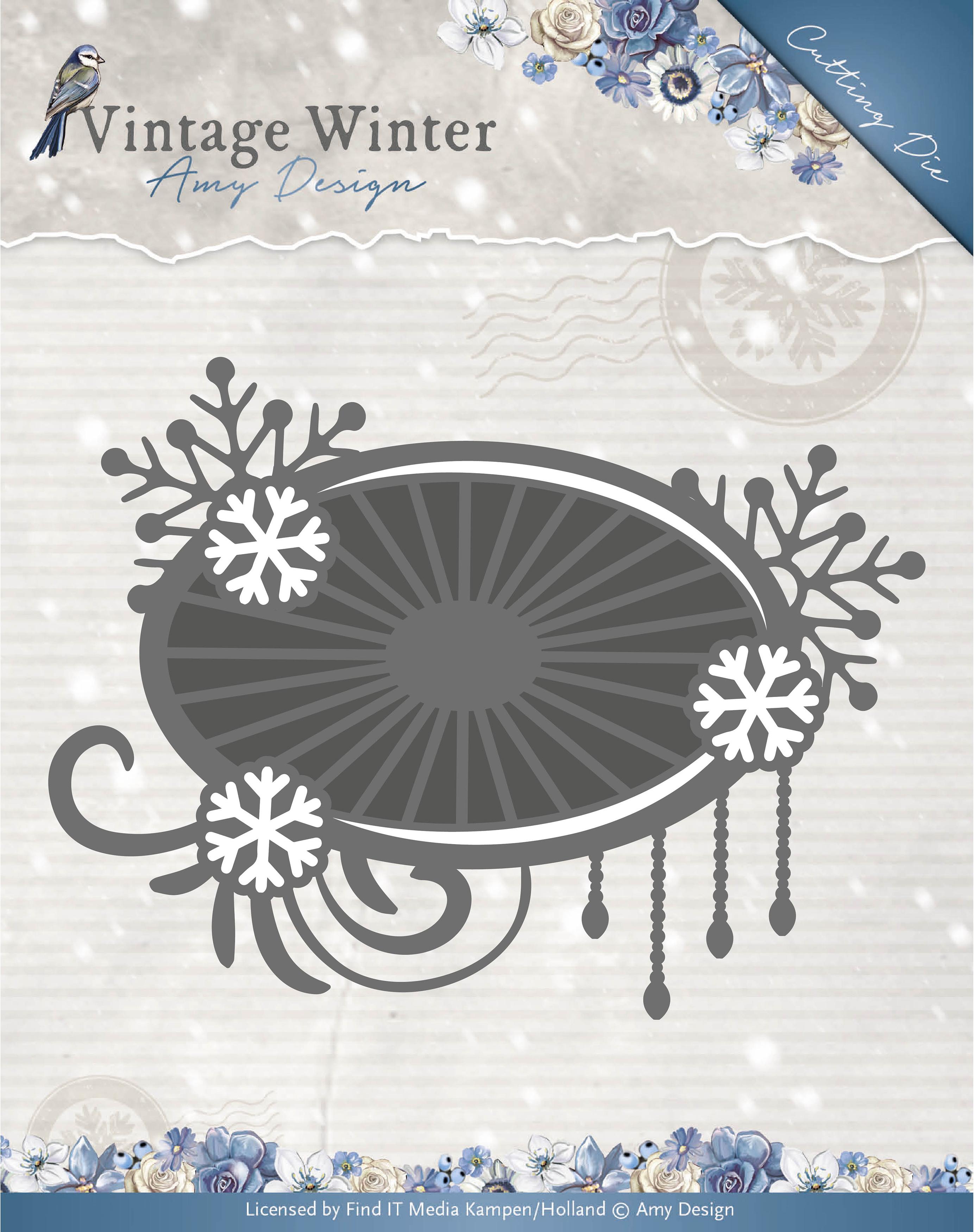Snowflake Swirl Label - Find It Trading Amy Design Vintage Winter Die