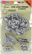 Fresh Peony - Stampendous Cling Stamp W/Template Set