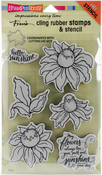 Coneflower - Stampendous Cling Stamp W/Template Set